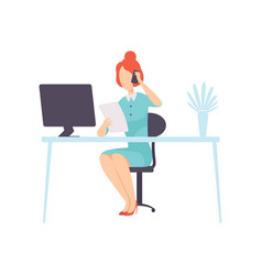 businesswoman talking on phone while working with vector image