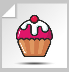 cakes muffins sweets icons 4 vector image