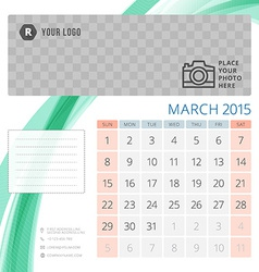 Calendar 2015 March template with place for photo vector image