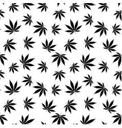 Cannabis seamless pattern marijuana leaf black vector