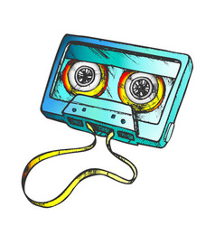 Cassette tape for listening music color vector