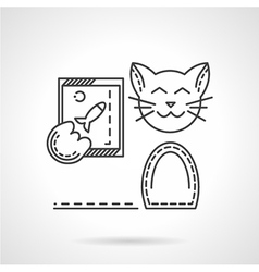 Cat with phone line icon vector