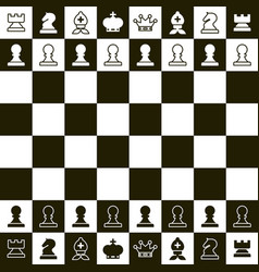 Chess board top view chess pieces vector
