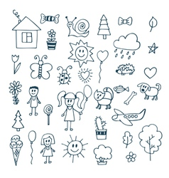 Children drawing Doodle set of objects vector
