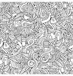 Coffee doodles seamless pattern vector image