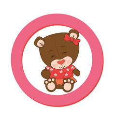 color circular frame with female teddy bear vector image