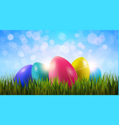 colorful painter easter eggs in green grass over vector image