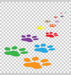 colorful paw print icon on isolated background vector image