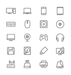 Computer thin icons vector image
