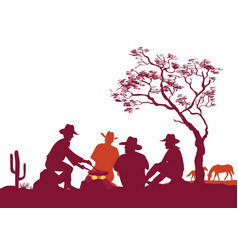 Cowboys around a campfire silhouettes on white vector