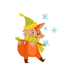 Cute winter cartoon red fox character with hat and vector