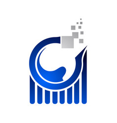 Data analysis worksheet internet logo on blue vector