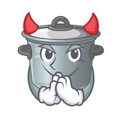 Devil cartoon stock pot used cooking food vector