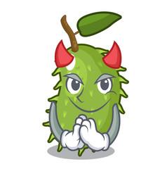 Devil sweet soursop fruit in cartoon kitchen vector