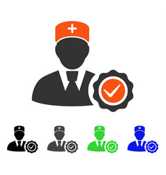 Doctor certifiation seal flat icon vector
