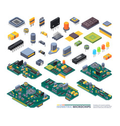 Electrical boards isometric hardware items vector