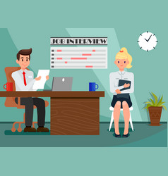 Employer and employee in office flat vector