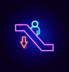 escalator down neon sign vector image