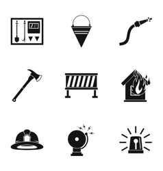 Firefighter icons set simple style vector image