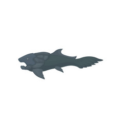 flat icon of prehistoric fish large marine vector image
