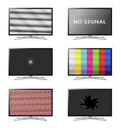Flat screen smart tv set no signal tv screens vector
