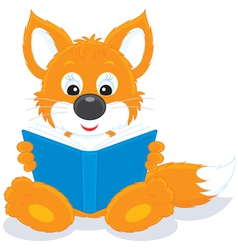 fox cub reading a book vector image