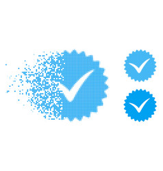 Fragmented dotted halftone quality icon vector