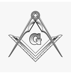 Freemasonry emblem logo with G great architect vector image