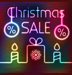 Glowing gift box and christmas sale words vector