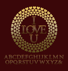 gold patterned letters with tendrils vintage font vector image