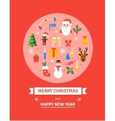 Greeting Christmas Card New Year symbols vector