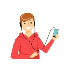 Guy In Hoodie WIth Hands-Free Headphones Plugged vector