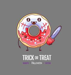 Halloween kawaii funny donut zombie sweet food vector