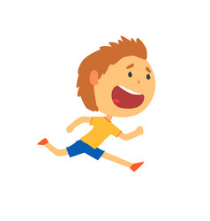Happy boy running kids physical activity cartoon vector