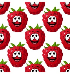 Happy ripe red raspberry seamless pattern vector image