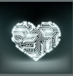 human heart in form technology circuits vector image