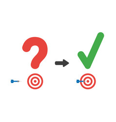 icon concept of question mark and check mark with vector image