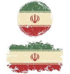 Iranian round and square grunge flags vector image