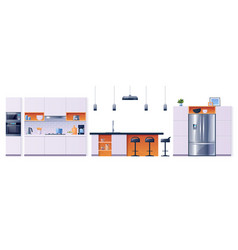 kitchen interior fittings appliances furniture vector image