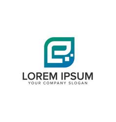 letter e minimalist technology logo design vector image