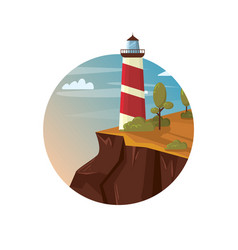 lighthouse on the rock with sea landscape vector image