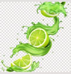 Lime fruit in green juice splash for advertising vector