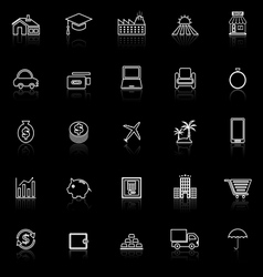 Loan line icons with reflect on black background vector