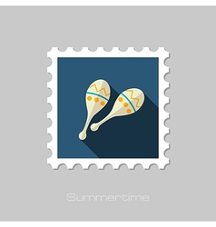 Maracas flat stamp Summer Vacation vector image