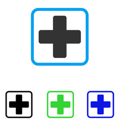 Medical cross framed icon vector