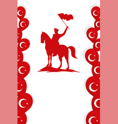 Military soldier waving flag in horse turkey vector