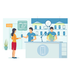 Mobile phone service center flat vector