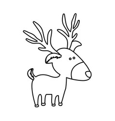 monochrome contour of caricature reindeer stand vector image