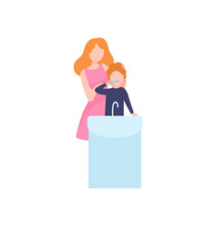 Mother teaching son to clean teeth mom and kid vector