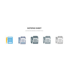 notepad sheet icon in different style two vector image